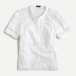 Puff-sleeve popover top in eyelet | J.Crew US
