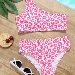 Girls Leopard One Shoulder Bikini Swimsuit | SHEIN
