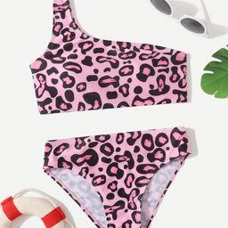 Girls Leopard Print One Shoulder Bikini Swimsuit | SHEIN