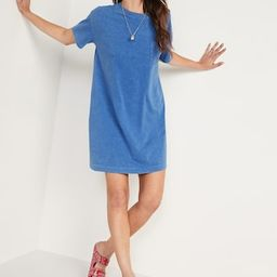 Loose Vintage Short-Sleeve Mineral-Dyed T-Shirt Shift Dress for Women | Old Navy (US)