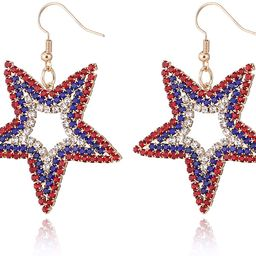 MTSCE USA American Flag Dangle Drop Rhinestone Earrings for Women, Patriotic 4th of July Independ... | Amazon (US)