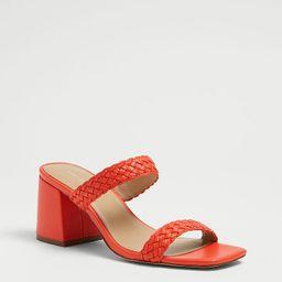 Peyton Woven Leather Strappy Block Heel Sandals   Ann Taylor   Ann Taylor (US)