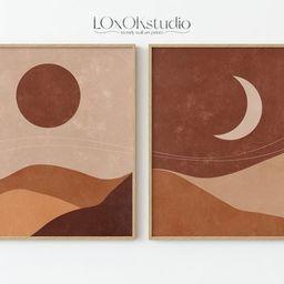 Mid Century Modern Art, Sun And Moon Prints Set Of 2, Terracotta Wall Art, Minimalist Wall Decor,... | Etsy (US)