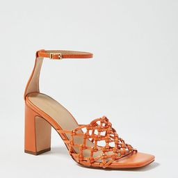 Rylee Knotted Leather Block Heel Sandals   Ann Taylor   Ann Taylor (US)