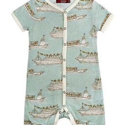 Blue & Gray Ships Shortalls - Infant | Zulily