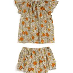 Gray Floral Angel-Sleeve Dress & Diaper Cover - Infant | Zulily