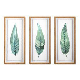 "(Set of 3) 28""x12"" Framed Leaves Decorative Wall Art White - Threshold™ | Target"
