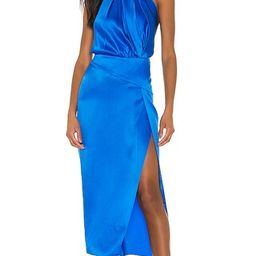 Michelle Mason Pleat Halter Dress in Blue. - size 8 (also in 2, 4) | Revolve Clothing (Global)