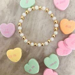 Marshmallow 14k gold filled 6mm beaded bracelet | Etsy (US)