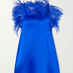 ioannes - Feather-embellished Silk-blend Satin Mini Dress - Blue | Net-a-Porter (US)