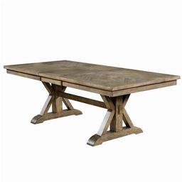 Benjara BM207662 30 x 42 x 90 in. Transitional Style Wooden Dining Table with Trestle Base, Brown | Walmart (US)