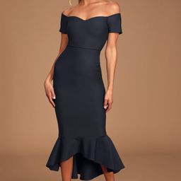 How Much I Care Midnight Blue Off-the-Shoulder Midi Dress | Lulus (US)