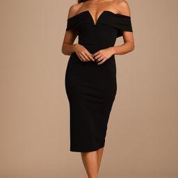 My Favorite Night Black Off-the-Shoulder Bodycon Midi Dress | Lulus (US)