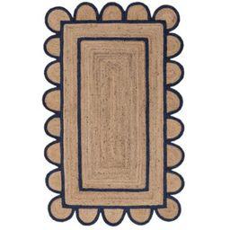 Blue Scalloped Rug 8 X 10 Feet Hand-Braided Jute Scallop Rug Scalloped Edge Rugs Runner Scallop B... | Etsy (CAD)