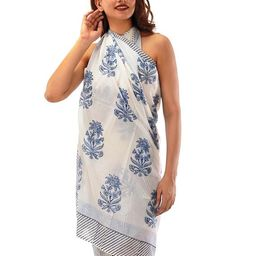 Sarong White Blue,Sarong Hand Block Print,Sarong Floral, Sarong Pareo for women,,Sarong Beach Wra... | Etsy (CAD)