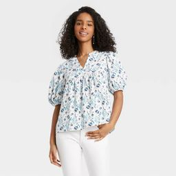 Women's Puff Elbow Sleeve Blouse - Universal Thread™ Floral | Target