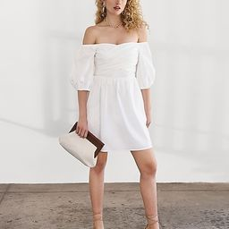 Cross Front Off The Shoulder Puff Sleeve Dress | Express