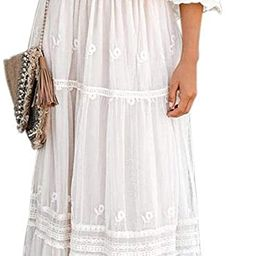Ecosunny Women's Deep V Neck Short Sleeve Floral Lace Bridesmaid Maxi Dress Party Gown (XX-Large,... | Amazon (US)