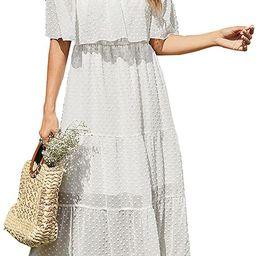 KIRUNDO 2021 Summer Women's Off Shoulder Maxi Dress Polka Dots Short Sleeves High Waist Pleated... | Amazon (US)