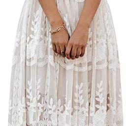 MERMAID'S CLOSET Womens Casual Off Shoulder Maxi Dress White Lace Sleeve Beach Dresses | Amazon (US)