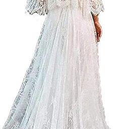 Tsbridal Lace Boho Wedding Dress Off The Shoulder Wedding Dresses | Amazon (US)