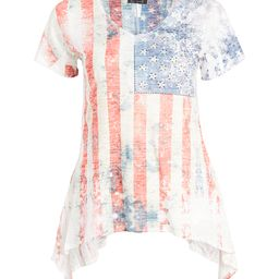 Urban X Women's Tee Shirts RED - Red & Blue American Flag Sidetail Tee - Plus   Zulily