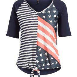 Casa Lee Women's Tee Shirts White - Red & Blue Stars & Stripes Front-Tie Raglan Tee - Women   Zulily