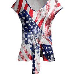 Lily Women's Tunics BLU - Blue & Red Stars & Stripes Tie-Waist Short-Sleeve Tunic - Women   Zulily