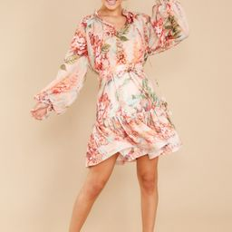 Wisteria Evenings Peach Floral Print Top   Red Dress