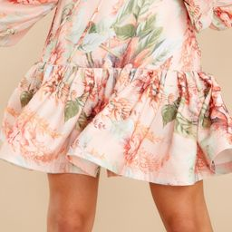 Whimsical Wildflowers Peach Floral Print Skirt   Red Dress