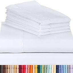 "LuxClub 6 PC Sheet Set Bamboo Sheets Deep Pockets 18"" Eco Friendly Wrinkle Free Sheets Machine Wa... | Amazon (US)"