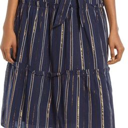 Metallic Stripe Ruffle Sleeve Midi Dress   Nordstrom