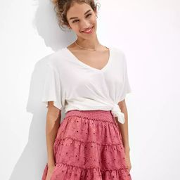 AE Solid Eyelet Tiered Mini Skirt | American Eagle Outfitters (US & CA)