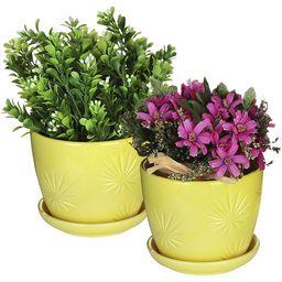 MyGift Set of 2 Yellow Sunburst Design Ceramic Flower Planter Pots with Saucers | Walmart (US)
