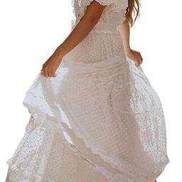 Bdcoco Women's V Neck Floral Lace Wedding Dress Short Sleeve Bridesmaid Evening Party Maxi Dress   Amazon (US)