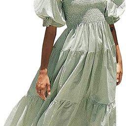 Women's Summer Cotton Plaid Puff Sleeves Bow Casual Off-Shoulder Boho Midi Dress, Plaid Tube Flow...   Amazon (US)