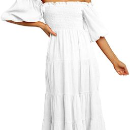 R.Vivimos Women's Summer Linen Lantern Sleeves Ruffled Off Shoulder A-Line Midi Dresses   Amazon (US)