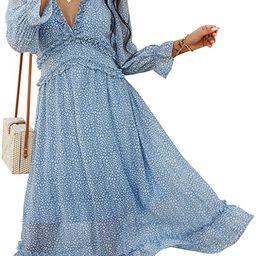 ADDHEAT Women's Chiffon Maxi Dress: Floral Print Strapless Sundress V Neck Ruffles Midi Dresses   Amazon (US)