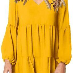 Amoretu Women Summer Tunic Dress V Neck Casual Loose Flowy Swing Shift Dresses   Amazon (US)