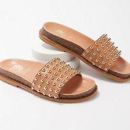 Vince Camuto Leather Studded Slide Sandals - Kortlen   QVC