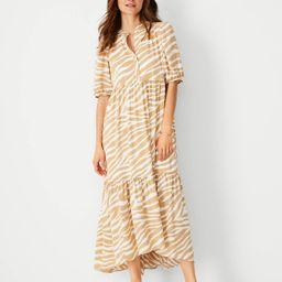 Zebra Print Puff Sleeve Midi Dress   Ann Taylor   Ann Taylor (US)