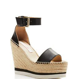 Women's Glyn Leather Espadrille Platform Wedge Ankle Strap Sandals | Bloomingdale's (US)