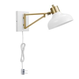 Globe Electric Berkeley 1-Light White and Brass Plug-In or Hardwire Swing Arm Wall Sconce, 51344 ...   Walmart (US)
