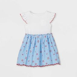 Toddler Girls' Striped with Stars Knit Woven Dress - Cat & Jack™ White   Target