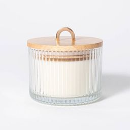 13oz Wood Lidded Ribbed Glass 3-Wick Mandarin Orange Blossom Candle - Threshold™ designed with ... | Target