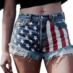 Cffvdiz 4Th of July Shorts Women American Flag Print Sexy Denim Jean Shorts Hot Pants | Amazon (US)