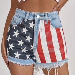 High Waist Flap Print Denim Shorts | SHEIN