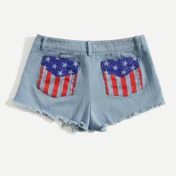 SHEIN American Flag Pocket Patched Raw Hem Denim Shorts | SHEIN
