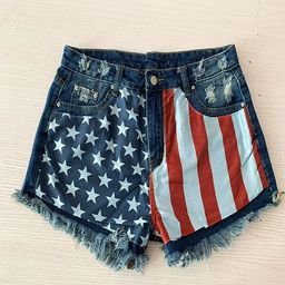 American Flag Denim Shorts Women 4th of July Cut Off Hot Pants Patriotic Independence Day Loose T... | Walmart (US)
