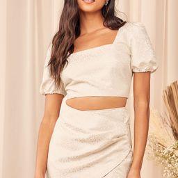 Elegant Affairs Cream Jacquard Puff Sleeve Two-Piece Mini Dress | Lulus (US)